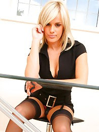 Delightful secretary slips out of the tight minidress and shows off sexy underwear sex pictures