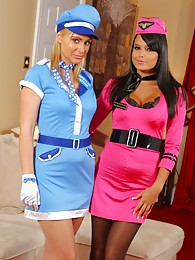 Bebe and Jenna J look stunning in their air hostess outfits sex pictures