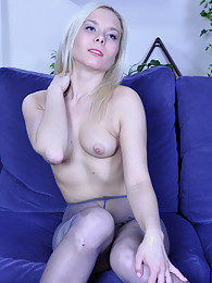 Platinum blonde unzipping her jeans while flashing her expensive pantyhose pictures