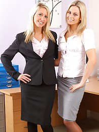 This blonde duo look stunning as they strip each other out of ther office wear sex pictures