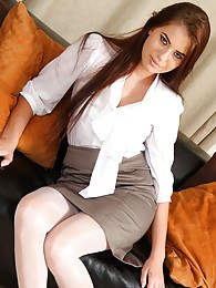 Laura in white suspenders and tight blouse sex pictures