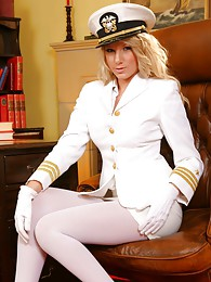 Cute Ashlea looks wondeful dressed in her white uniform and matching white lingerie sex pictures