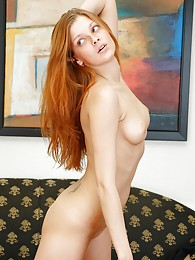 Sweet redhead flashing tasty shaved pussy sex pictures