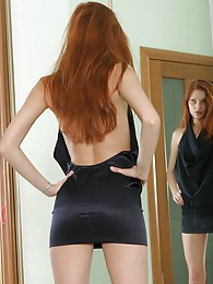 Stunning redhead babe shows pussy in mirror sex pictures