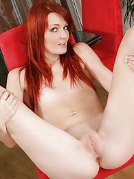 Spunky redhead coed Maggie exposes shaved pussy sex pictures