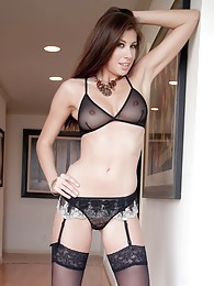 Leggy Maria E in black mini skirt and suspenders sex pictures