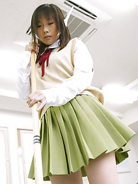 Asian slut dresses the part of a school girl and cleans up the class room pictures