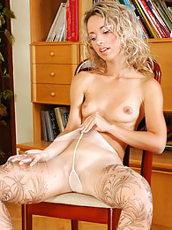 Curly teaser unpacks and slowly pulls up her new richly patterned pantyhose pictures