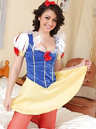 The gorgeous Bryoni-Kate in her snow white outfit with red pantyhose pictures
