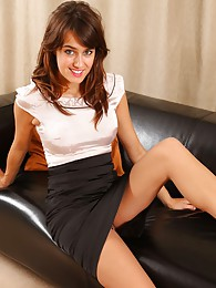 Saucy secretary Seren in tan stockings sex pictures