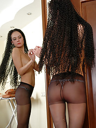 Funky dark-haired girl adores the look of her black control top pantyhose pictures