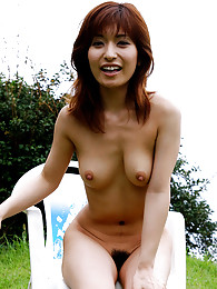 Naked Japanese tramp enjoys the freedom showing hairy pussy and fine tits a lot sex pictures