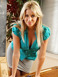 Bianca H in silk teachers outfit & black suspenders sex pictures