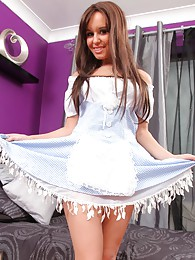 Sexy brunette in a fancy light blue minidress matching colour lingerie and white ankle socks sex pictures