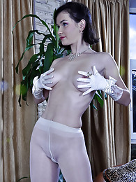 Sexy bride wears her wedding gown with gloves and white back seam pantyhose sex pictures