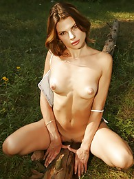 Sexy brunette flashing pussy in the woods pictures