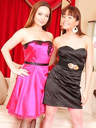 Carla and Lily S look sexy and sophisticated in their evening dresses and heels pictures