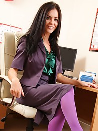 The beautiful Emma Glover in her office outfit and stockings sex pictures