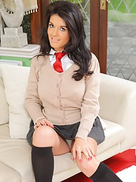 Kelly M looks amazing in her cute college uniform pictures