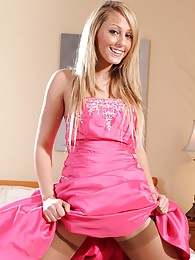 Pretty blonde looks amazing in her bright pink floor length prom dress and tan stockings sex pictures