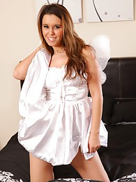 Michelle teases her way from little white dress in the bedroom sex pictures