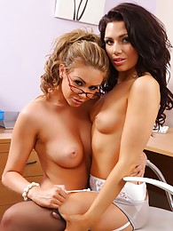 Leah and Jessica tease each other out of their secretary outfits sex pictures