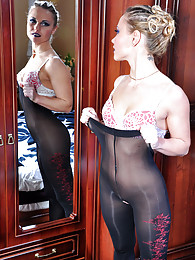 Dazzling blonde slowly pulls up her expensive opaque crotchless pantyhose pictures