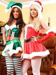 Natalia and Alana tease each other out of their Kinky Christmas outfits pictures