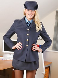 Gorgeous blonde undresses out of her military uniform sex pictures